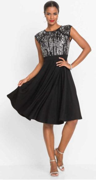 Černostříbrné slavnostní šaty s pajetkami a širokou sukni