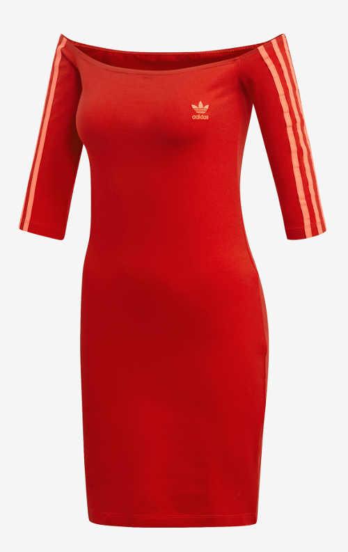 Červené dámské sportovní šaty s tříčtvrtečním rukávem