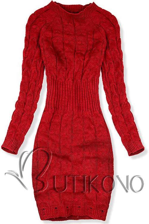 Červené pletené svetrové šaty