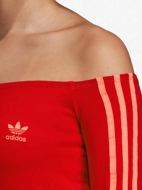 Červené sportovní dámské šaty se spadlými rukávy