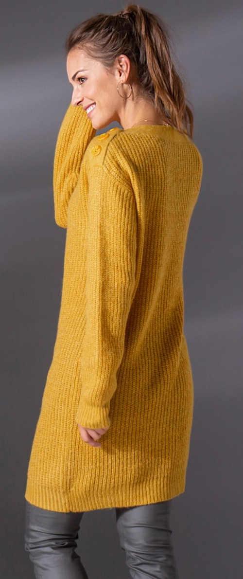 Delší žlutý dámský svetr k legínám