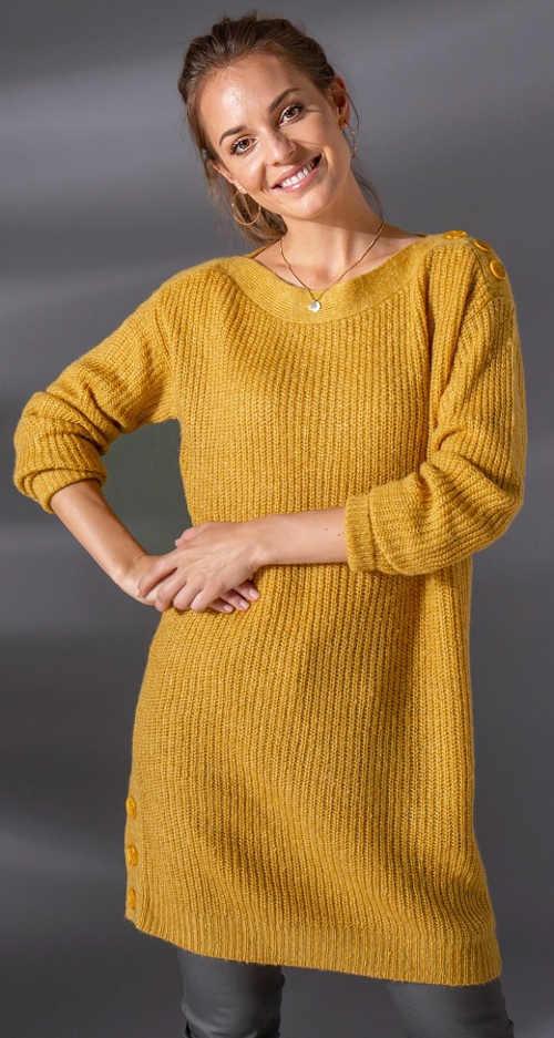 Delší žlutý tunikový pulovr