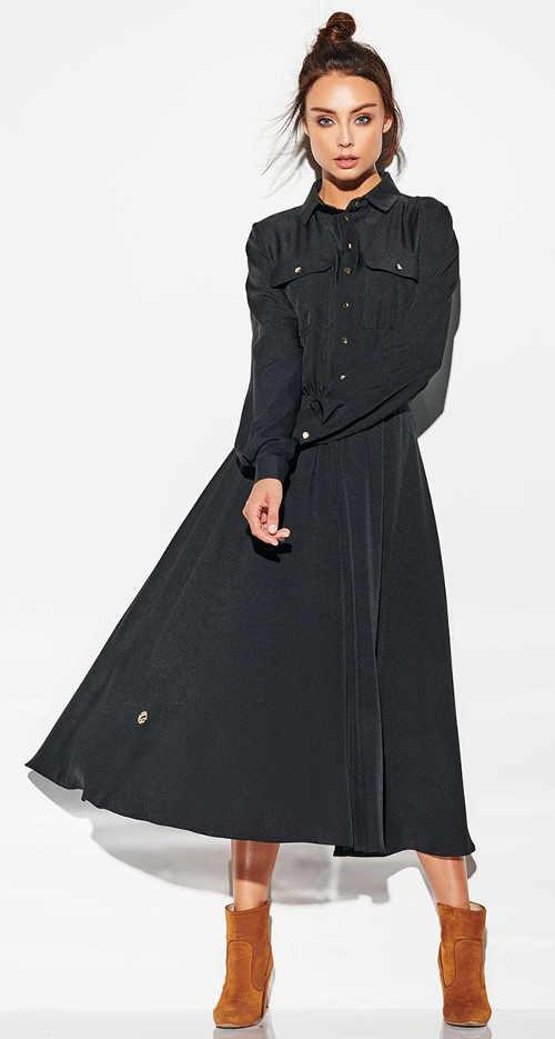 Dlouhé černé dámské šaty s knoflíky a náprsními kapsami