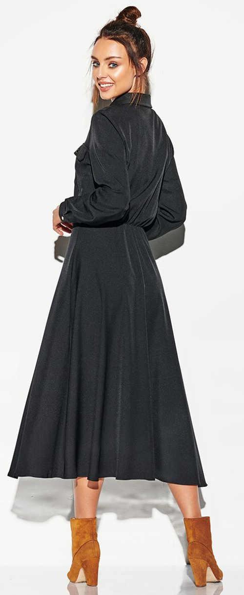 Dlouhé černé maxi šaty s límečkem