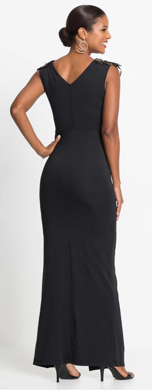 Dlouhé černé plesové šaty bez rukávů