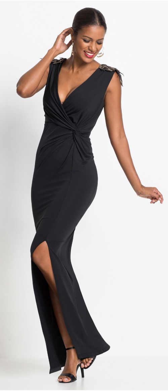 Dlouhé černé večerní šaty s překřížením pod prsy