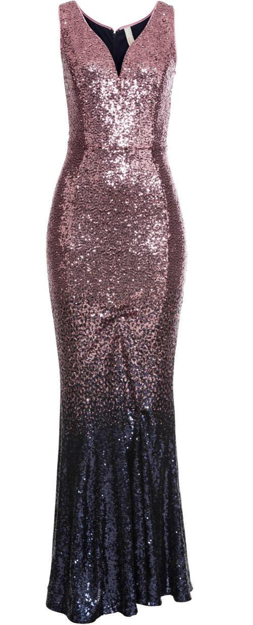 Dlouhé plesové dámské šaty s flitry