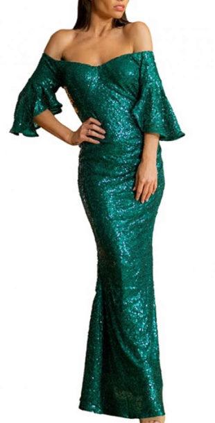 Dlouhé tmavě zelené lesklé plesové šaty s odhalenými rameny