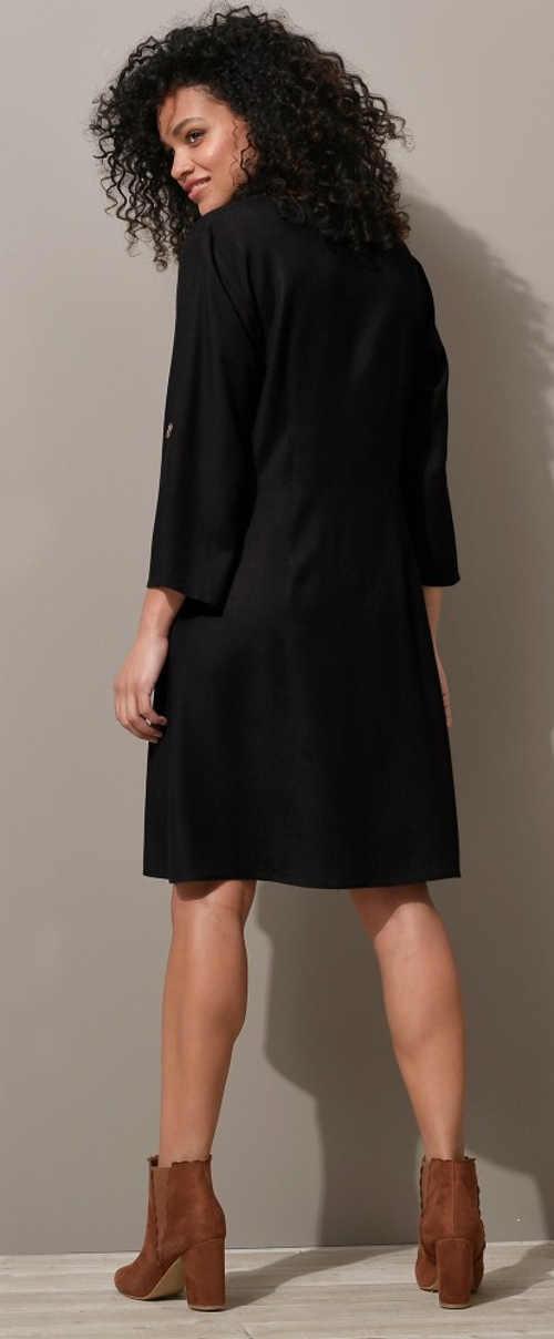 Jednobarevné černé dámské šaty Blancheporte pro plnoštíhlé