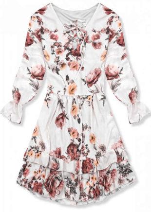 Květinové šaty s dlouhými rukávy a délkou ke kolenům