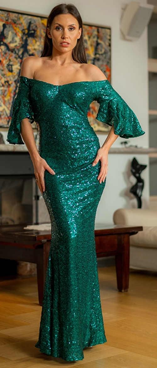 Luxusní zelené splývavé plesové šaty