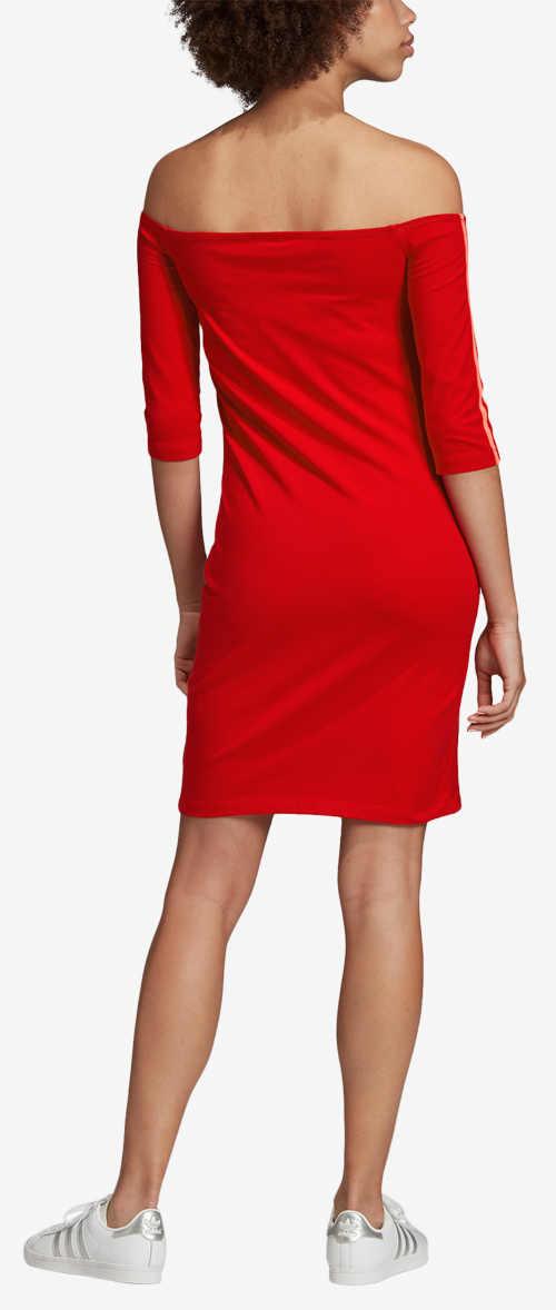 Moderní červené teplákové šaty Adidas
