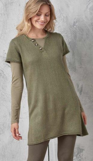 Prodloužený tunikový svetr k legínám