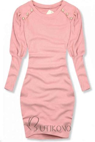Růžové úpletové zimní šaty volného střihu