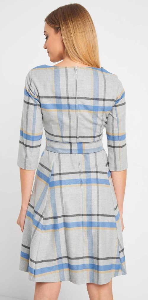 Šedo-modré kostkované dámské šaty s páskem