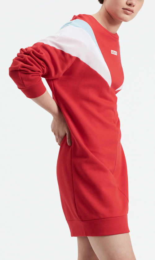 Sportovní červeno bílé zimní šaty LEVI'S Florence
