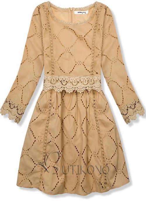 Světle hnědé šaty s vyšívanou krajkou a spodničkou