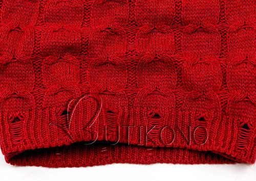 Teplé zimní červené pletené šaty k legínám
