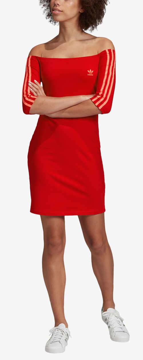 Zlevněné červené dámské sportovní šaty Adidas