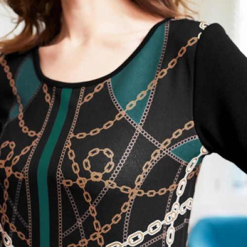 Černé úpletové šaty s barevným potiskem