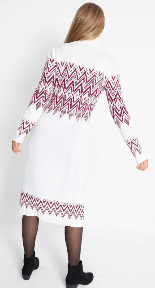 Dlouhé bílé svetrové dámské šaty