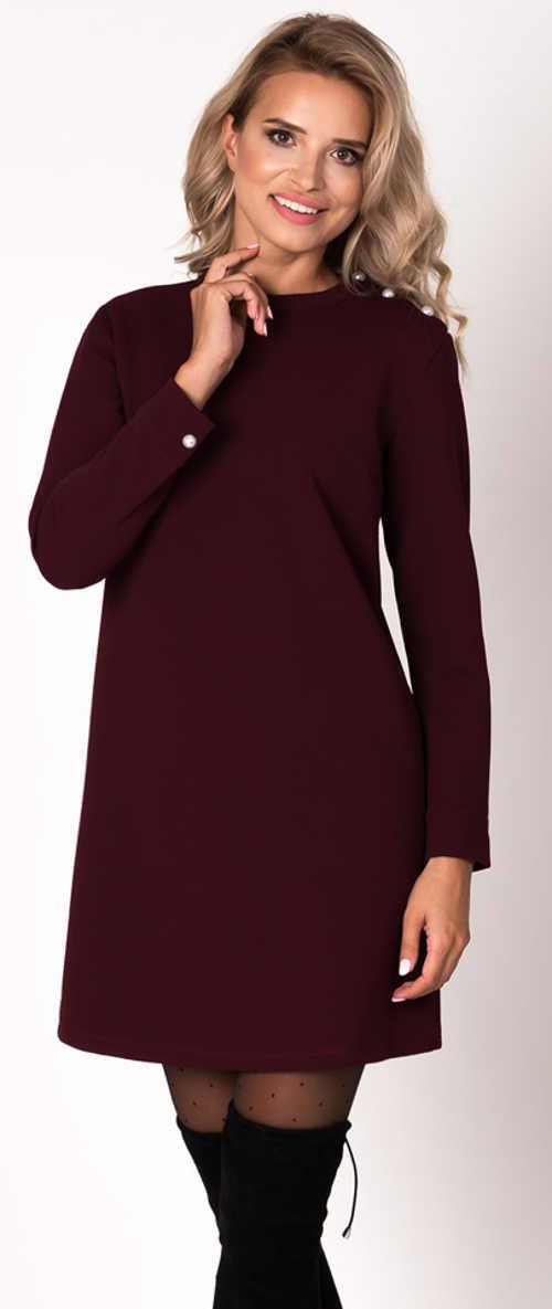 Tmavě fialové dámské šaty s dlouhým rukávem