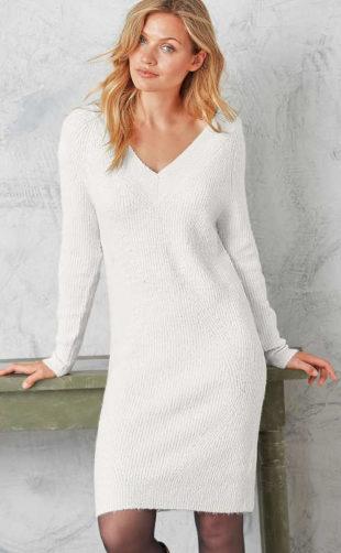 Bílé svetrové zimní šaty výprodej