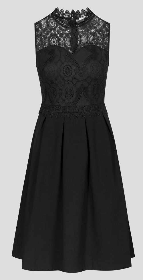 Černé plesové šaty s krajkovým topem