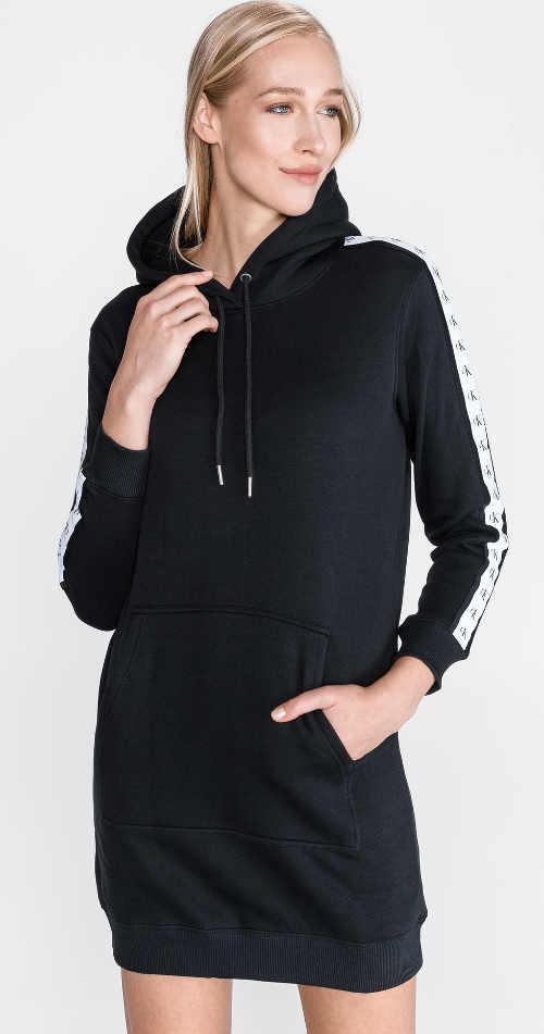 Černé teplákové dámské šaty Calvin Klein