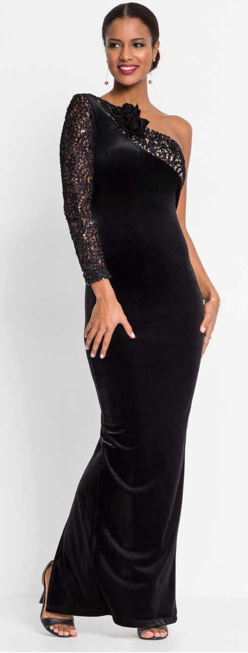 Černé večerní dámské šaty na jedno rameno