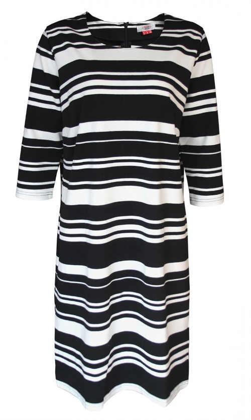 Dámské šaty s asymetrickým černobílými proužky