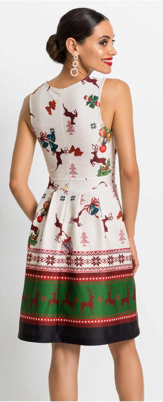 Dámské šaty ke kolenům s vánočním potiskem