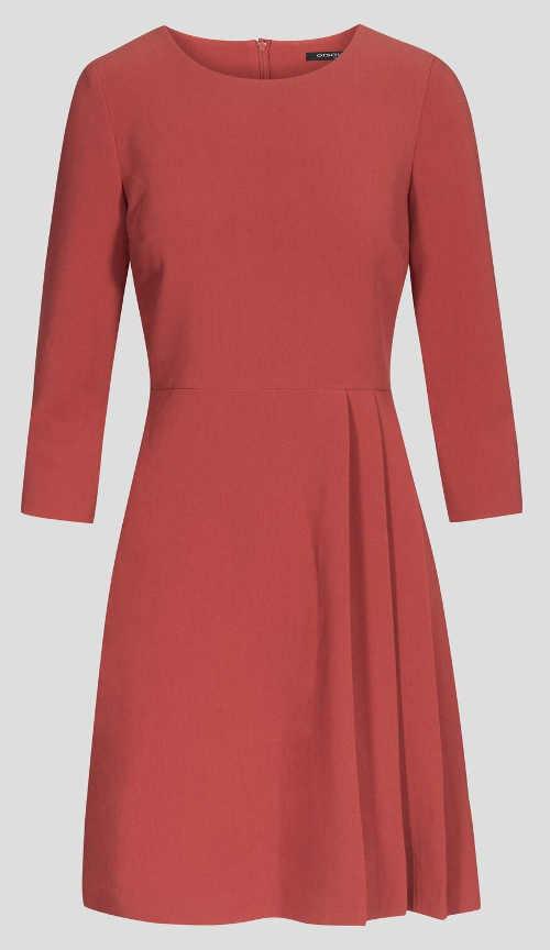 Dámské tkané šaty s modelující přešitím v pase
