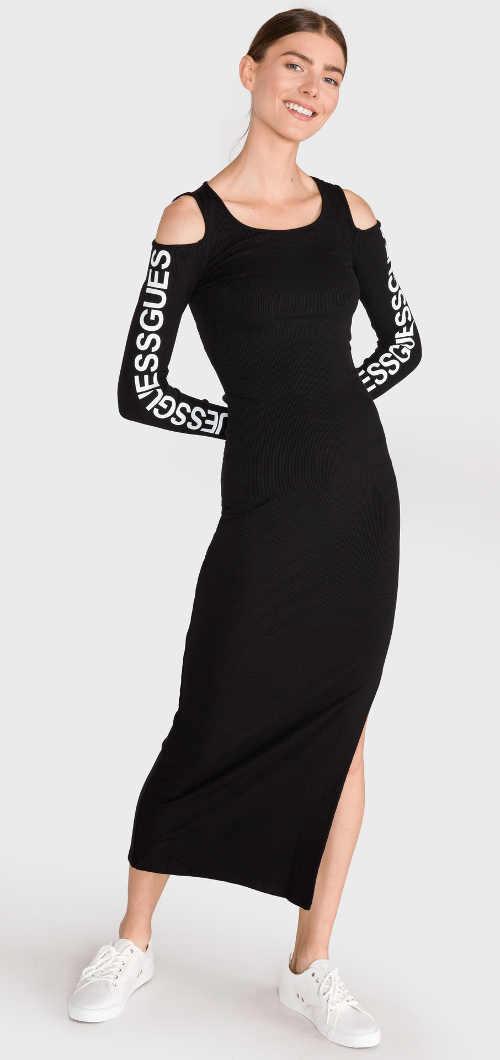 Dlouhé černé šaty Guess s průstřihy na ramenou