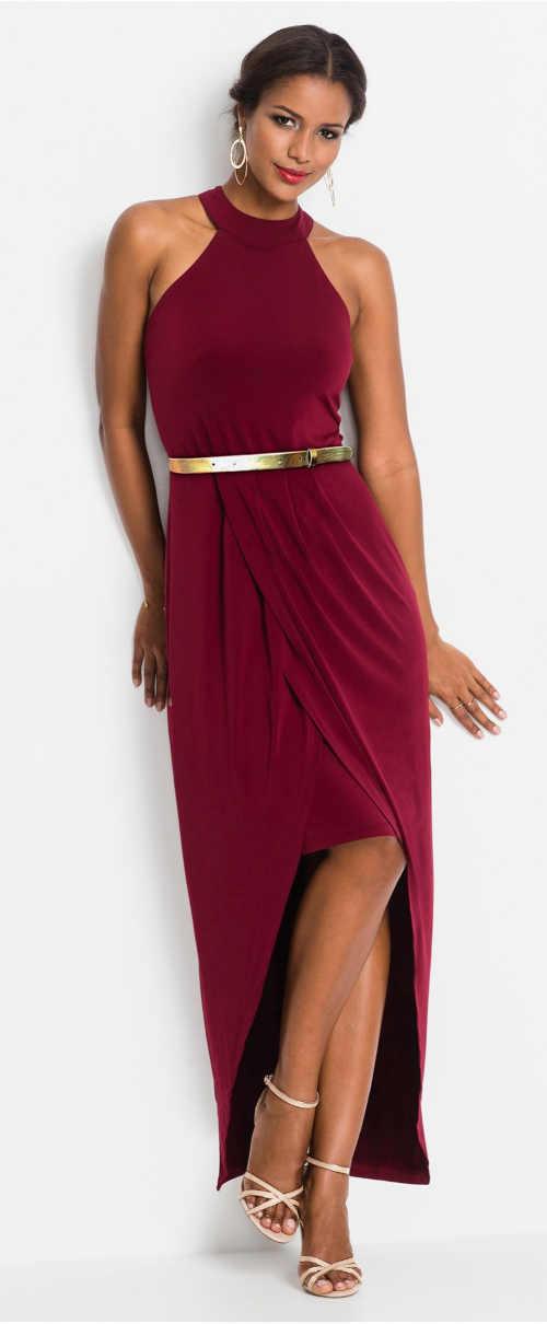 Dlouhé vínové plesové šaty s ramínkem kolem krku