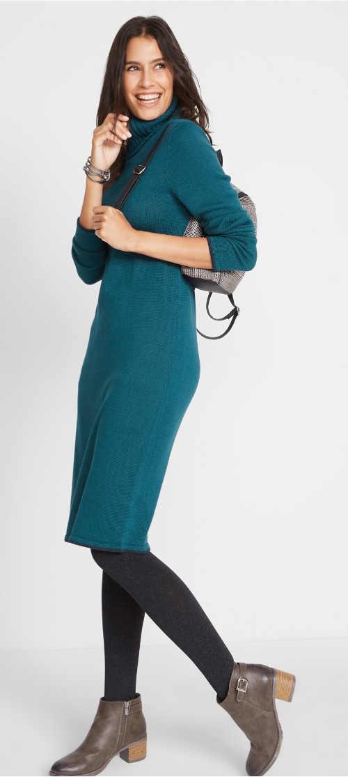 Hřejivé dámské zimní šaty k legínám