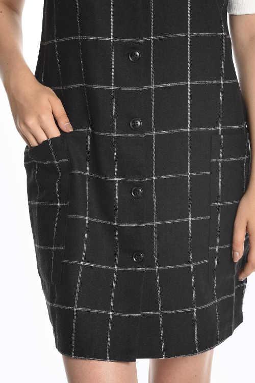 Kárované dámské šaty s knoflíky a kapsami