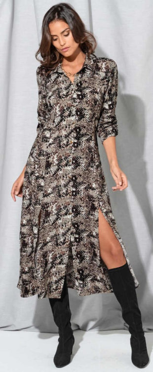 Košilové dámské maxi šaty s potiskem hadí kůže
