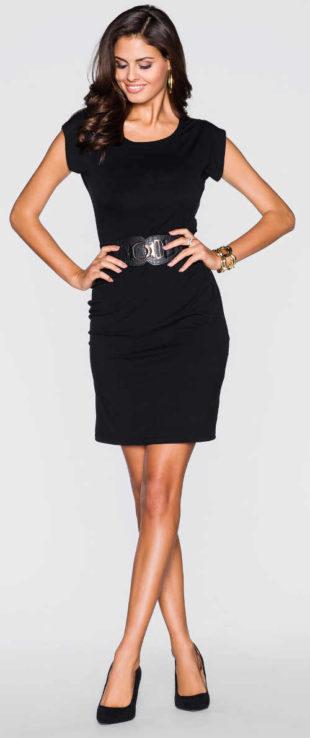 Levné jednobarevné černé dámské šaty
