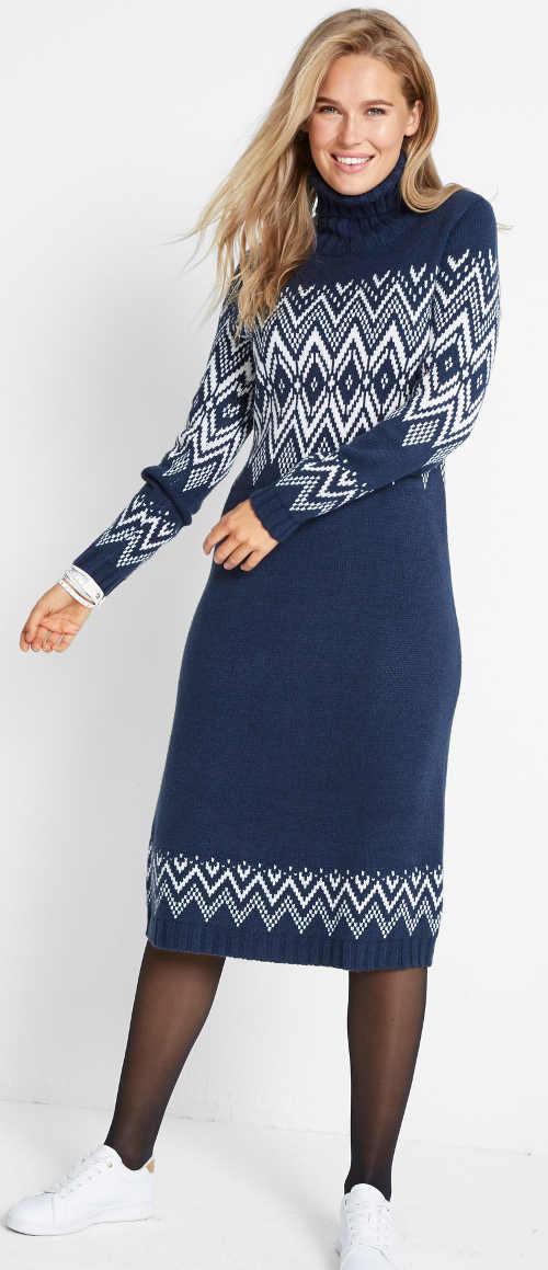 Modré dlouhé svetrové dámské šaty se zimním vzorem