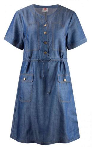 Modré košilové džínové šaty se zapínáním na knoflíky