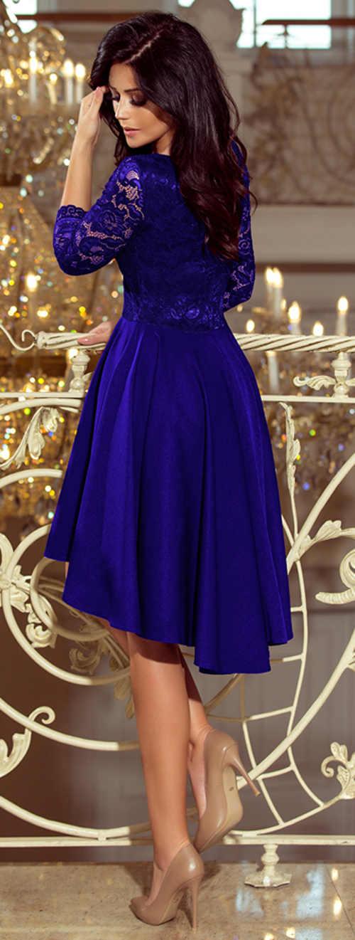 Modré krajkové společenské šaty se skládanou asymetrickou sukni