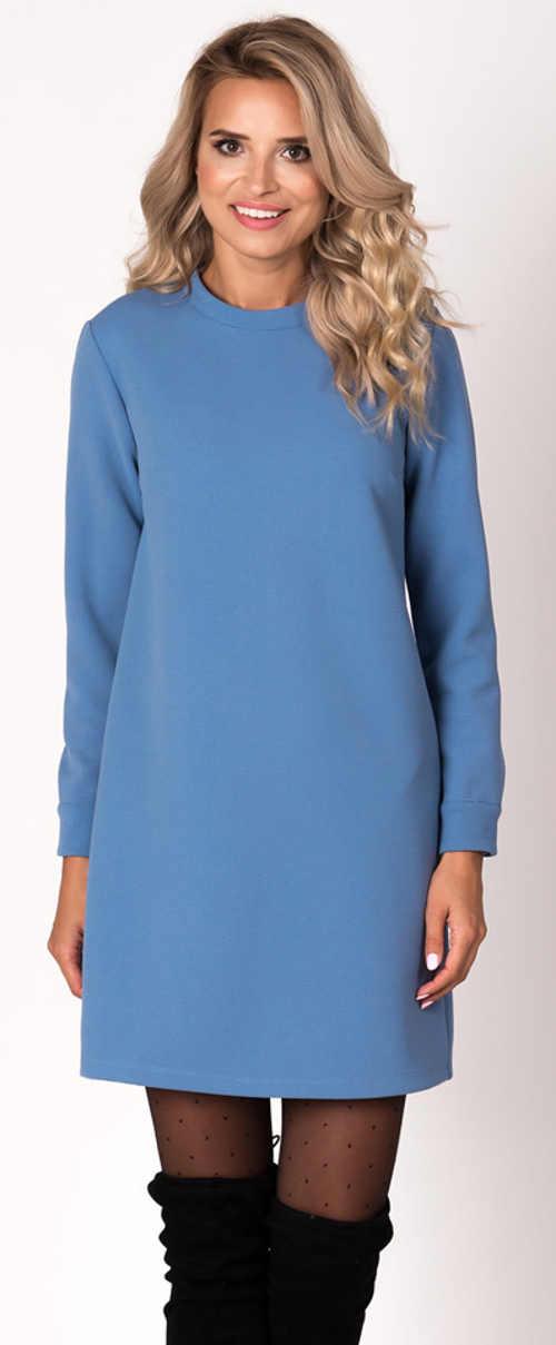Modré zimní dámské šaty s dlouhým rukávem