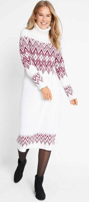 Pletené dámské maxišaty s norským vzorem