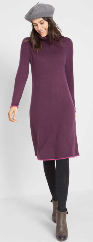 Pletené šaty s rolákem a dlouhými rukávy