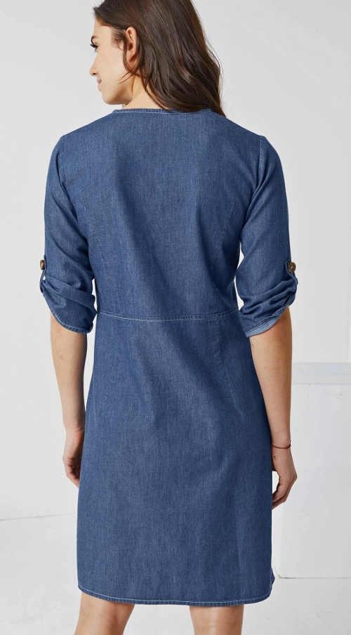 Riflové dámské šaty s tříčtvrtečním rukávem