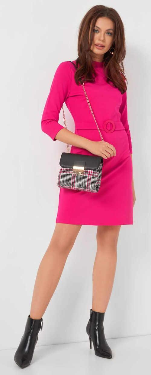 Růžové dámské business šaty