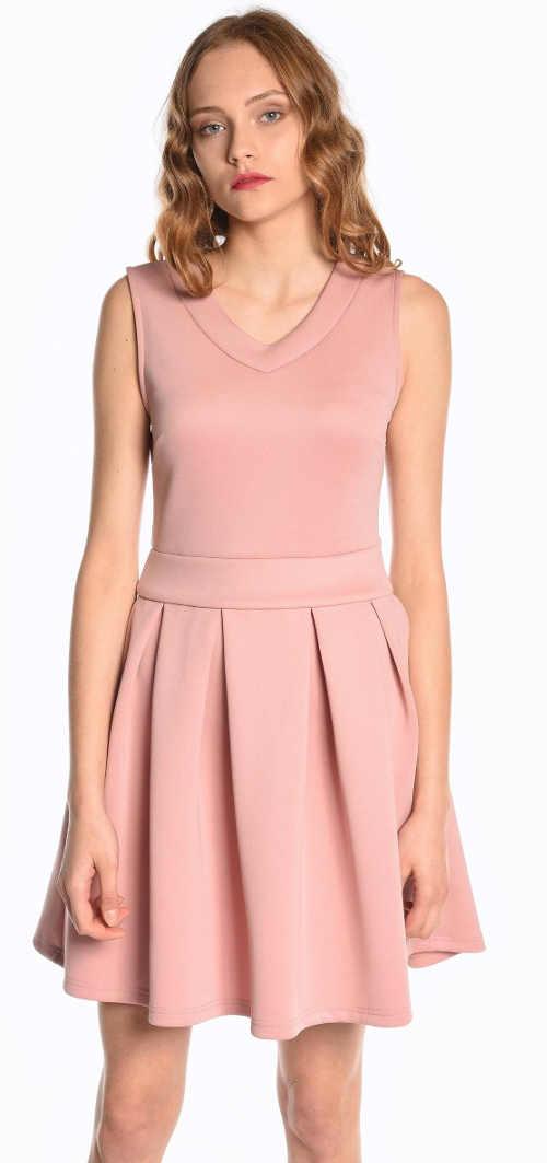 Růžové společenské skater šaty se skládanou sukní