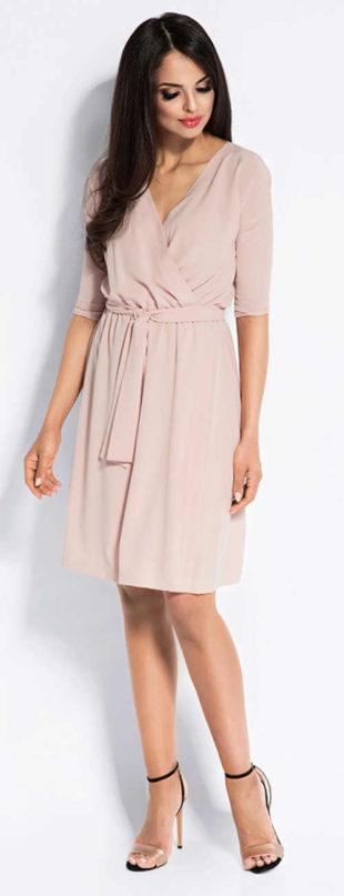 Světle růžové zavinovací dámské šaty s páskem