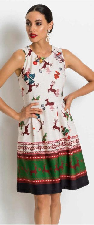 Vánoční dámské šaty bez rukávů
